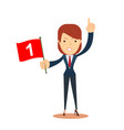 happy businesswoman holding number one flag vector image