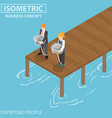 Isometric depressed businessman with rock and rope vector image
