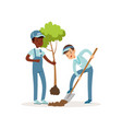 kids planting tree boys in overalls and caps one vector image vector image