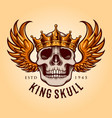 king skull with flying logo mascot vector image vector image