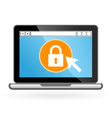 Laptop icon with padlock on screen - security vector image vector image