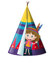 little girl in indian teepee vector image