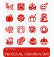national pumpkin day icon set vector image