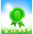 Natural green badge on grass background vector image vector image