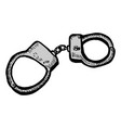 police handcuffs icon filled flat sign vector image vector image