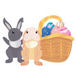rabbits eggs easter vector image