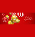 red christmas ball banner in spanish language vector image vector image