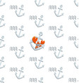 red crab sailor and anchors seamless pattern vector image vector image