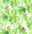 seamless watercolor cactus background vector image