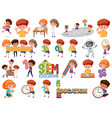 set children with education objects vector image vector image