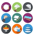 Set flat design icons for restaurant vector image