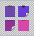 set of ultra violet color sheets of note memo vector image