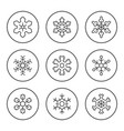 set round line icons snowflake vector image vector image