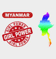 spectral mosaic myanmar map and distress girl vector image vector image