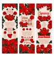 spring flower banner with red rose floral wreath vector image vector image