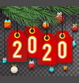 spruce tree branch with numbers labels and toys vector image