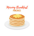 tasty pancakes with butter on white plate vector image vector image