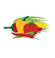tomato garlic corn and peppers vector image vector image