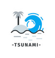 tsunami icon with text in simple flat style sea vector image