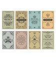 vintage cards rustic victorian retro old pattern vector image