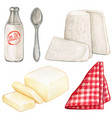 watercolor dairy products and red checkered napkin vector image vector image