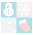 winter flat icon set in square frame vector image