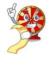 with menu spinning wheel beside wooden cartoon vector image