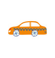 yellow taxi car taxi service side view cartoon vector image vector image