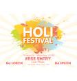 holi spring festival of colors invitation vector image