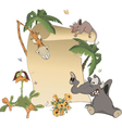 Animals With Blank Sign Board cartoon vector image