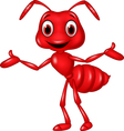 Cartoon red ant waving isolated on white backgroun vector image