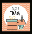 make a wish card invitation greeting cake and gift vector image