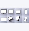 3d isometric set device smartphone pc laptop vector image vector image