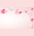3d pink and white hearts with beads on pastel vector image