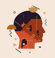 abstract human head with stairs doors geometric vector image