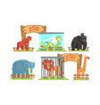 animals in zoo set monkey snake gorilla vector image