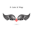 b-letter sign and angel wingsmonogram wing logo vector image