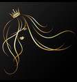 beautiful girl with a golden crown silhouette vector image vector image