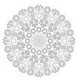 black and white circular spring floral mandala vector image vector image
