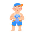 boy with a jellyfish on a white background vector image