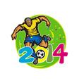 Brazil 2014 Football Player Kick Retro vector image vector image