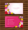 businesscard template with colorful flowers vector image vector image