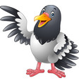 cartoon funny pigeon bird presenting vector image