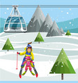 cartoon mom teaching little daughter how to ski vector image
