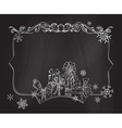 Christmas chalkboard background vector image vector image