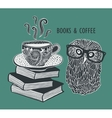 Coffee and books with cute clever owl in vector image