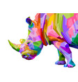 colorful rhinoceros pop art style isolated on vector image vector image