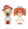 cute puppy dogs boy girl geek cubs hipster mascot vector image vector image