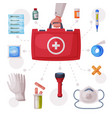 doctors hand holding first aid kit box with vector image vector image