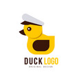 duck logo original design element with yellow toy vector image